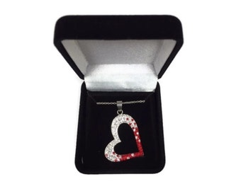Preciosa Red White Crystal Valentine Open Heart Necklace Sterling Silver Gift