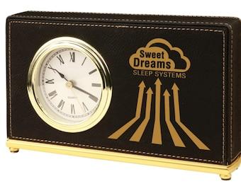 Personalized Desk Clock Black Leather Soft Finish Custom Engraved