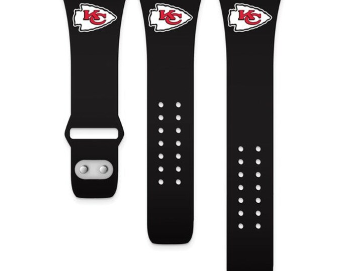 KC Chiefs Licensed Black Silicon Apple Watch Band fits (38/40mm Black)Kansas City Chiefs