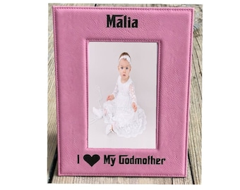 """I Love My Godmother 5"""" x 7"""" Picture Frame Pink Leatherette Personalized Photo"""