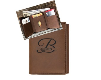 Mens Personalized Wallet, Brown Trifold Wallet, Engraved Leather Wallet, Fathers Day Gift