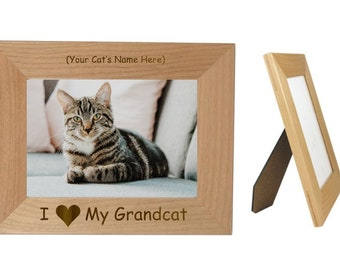 "I Love My Grandcat 4"" x 6"" Picture Frame Personalized Photo (Engraved As You Like)"