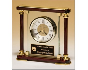Personalized Desk Clock Deluxe Rosewood, Glass & Brass - Engraved Free