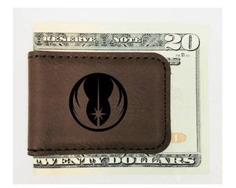 Personalized Money Clip Star Wars Inspired Magnetic Leatherette Brown