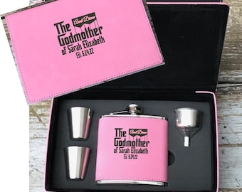 Personalized Godmother Gift - Engraved Pink Flask Set