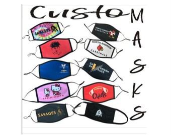 Custom Face Mask, Custom Logo Face Mask, Personalized Face Mask, Custom Washable Face Mask, Reusable Mask Cotton, Your Logo, 2 Sizes