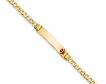 "Personalized 14K Gold Medic ID Bracelet Ladies 7"" Medical History Alert Custom"