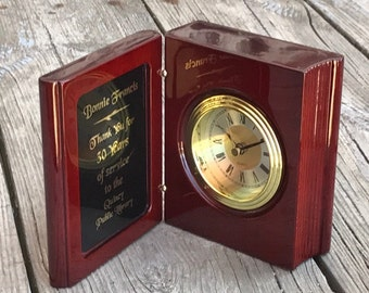 Personalized Desk Clock Book Clock Plaque Solid Piano Finish Rosewood Engraved