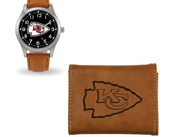 Kansas City Chiefs, KC Chiefs Watch & Wallet Gift Set, Leaque Licensed Kansas City Chiefs, Engraved Free