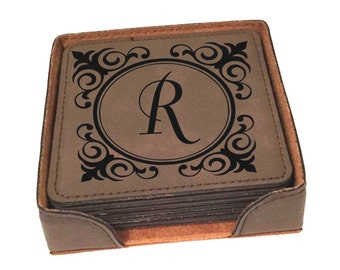Personalized Coaster Set of 6 Leather includes Holder Engraved Free