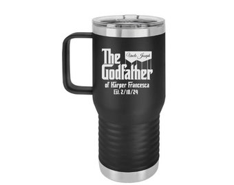 Godfather Proposal, Insulated Tumbler Black, 20 oz. Godfather Travel Mug, Godfather Gift, Gift For Godfather