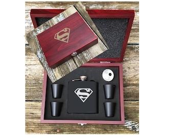 Superman Flask Set, Superman Inspired Flask Set, Custom Options Superman Gift, Super Hero Gift, Gift For Superman Fan, Superman Flask