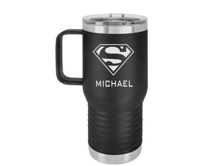 Superman Mug, Superman Insulated Tumbler, Black, 20 oz. Superman Travel Mug, Superman Gift, Gift For Superman Fan