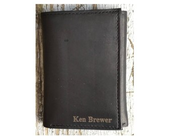 Personalized Mens Wallet, Leather Trifold Wallet, Black Leather Wallet, Security Wallet, RFID Mens Wallet, Monogrammed Wallet
