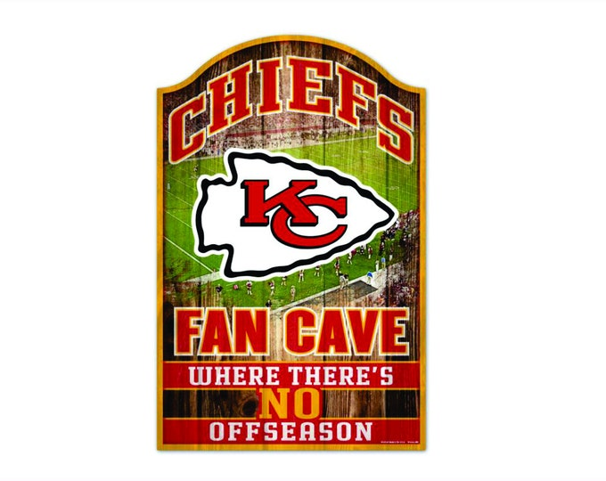 """Kansas City Chiefs Fan Cave Wood Sign 11"""" x 17"""" 1/4"""" thick"""