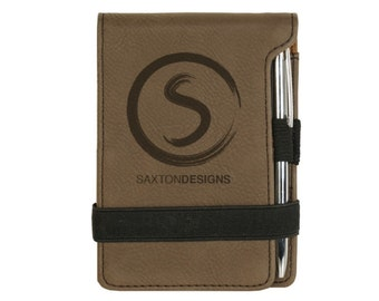 Personalized Note Pad Brushed Soft Dark Brown Leather Pen Business Card Pocket