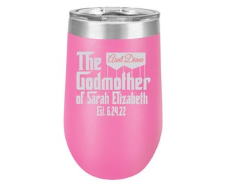 Godmother Gift Proposal - 16 oz. Stemless Wine Tumbler - Godmother Gift - Personalized Gift