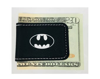 Personalized Money Clip Batman Inspired Magnetic Leatherette Black