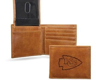 Kansas City Chiefs Licensed Brown Leatherette Bifold Wallet