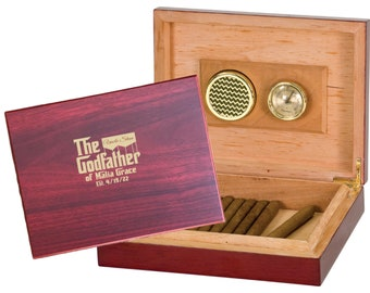 Personalized Godfather Gift, Humidor Box Gift Set, Engraved Wood Box, Deluxe Godfather Gift
