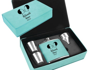 Personalized Flask Set Disney InspiredTeal Engraved Maid of Honor, Bridesmaid, Matron of Honor, Mother of the Bride, Mother of the Groom