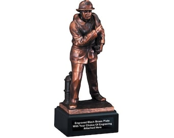 Fire Fighter Award, Simulated Bronze Fireman Statue, Emergency Response Git Personalized