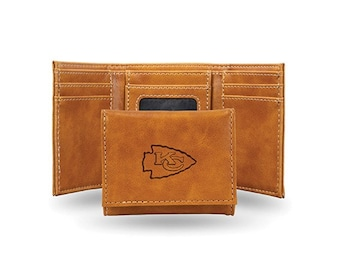 Kansas City Chiefs Licensed Brown Leatherette Trifold Wallet
