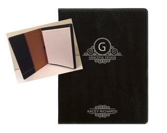 "Personalized Leather Portfolio with Notepad, Personalized Business Gift, 9 1/2"" x 12"" Customized Leatherette Portfolio, Custom Engraved"