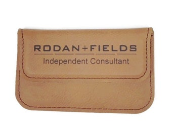 Rodan and Fields Personalized Business Card Holder Soft Sided Rawhide
