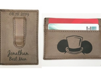 Disney Inspired Personalized Leather Money Clip & Card Case Brown Groomsman Best Man Gift
