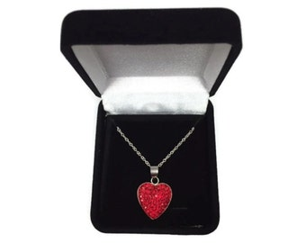 Valentine Heart Necklace Sterling Silver Red Preciosa Crystals
