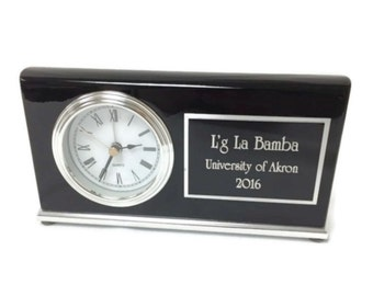 Personalized Desk Clock Black High Gloss Piano Finish Engraved