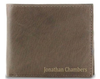 Mens Leather Wallet Personalized, Mens Bifold Wallet, Engraved Leather Wallet, Brown Leather Billfold