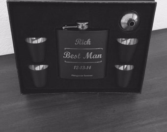 Personalized Groomsmen Flask Set 7pc., Best Man Gift, Groomsman Gift, Engraved Flask, Wedding Party Gifts, Groomsmen Gift, Best Man Flask