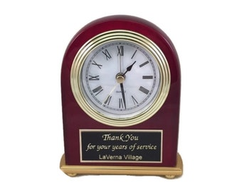Personalized Desk Clock Solid Rosewood Piano Finish Engraved