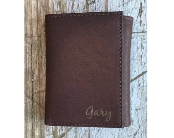 Personalized Mens Wallet, Brown Leather Trifold, Trifold Wallet, Trifold Wallet, Father's Day Gift