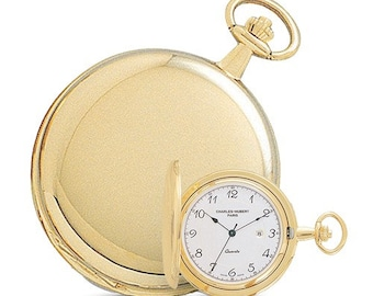 Mens Pocket Watch Gold, Personalized Pocket Watch, 14k Gold Finish, White Dial with Date Pocket Watch, Engraved