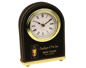 Personalized Desk Clock Black Soft Leather Gold Trim Accents Custom Engraved