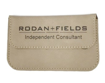 Rodan and Fields Personalized Business Card Holder Soft Sided Light Brown