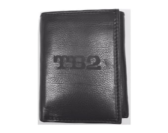 Personalized Wallet Mens Deluxe Black Leather Trifold Wallet Engraved Groomsman Monogram