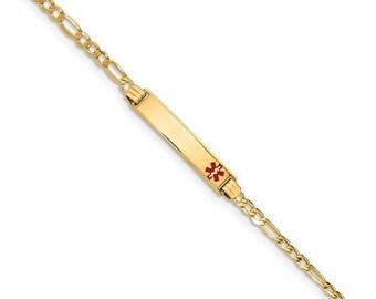"14K Gold Medic ID Bracelet, Personalized Ladies 7"" Medical ID, History Alert Custom, Figaro Bracelet"