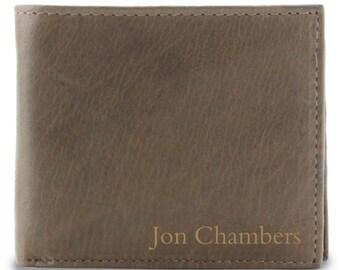 Bi-fold Wallet, Personalized Men's Wallet, Brown Leather Billfold