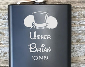 Personalized Usher Flask Disney Inspired Engraved Bachelor Party Gift Groomsmen