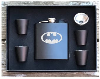 Batman Inspired 6 Piece Flask Set With Gift Box Groomsman Best Man Gift