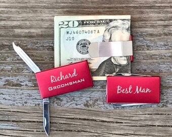 Groomsmen Gift Personalized Money Clip With Knife & File Best Man Usher Gift Red