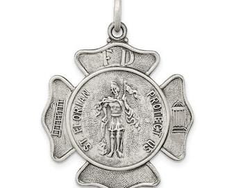 Maltese Cross, Saint Florian, Fireman Badge Medal, PENDANT ONLY, Sterling Silver, Fireman Patron Saint, Personalized St. Saint Florian