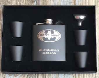 Personalized Best Man Batman Inspired 6 Piece Flask Set With Gift Box Groomsman