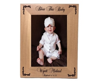 "Personalized Baby Photo Frame, Holds 5"" x 7"" Photo, Bless This Baby Wood Frame, Engraved Free"
