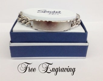 Personalized Mens ID Bracelet Speidel Faceted Silver Classic - Custom Hand Engraved Free