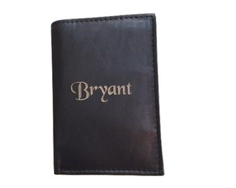 Personalized Mens Wallet, Genuine Black Leather Trifold, Monogram Leather Wallet, Trifold Wallet, Fathers Day Gift